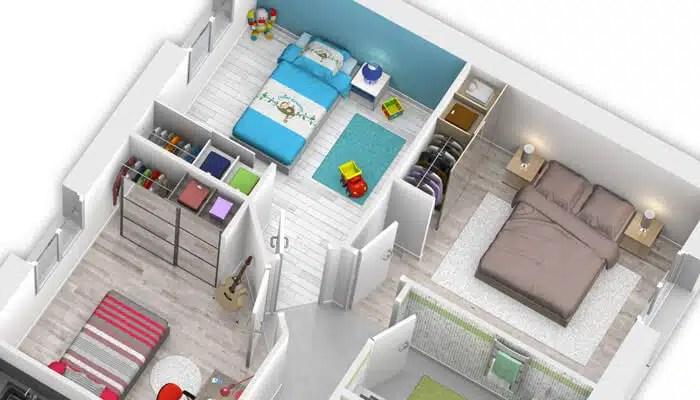 Espace nuit d'une maison moderne