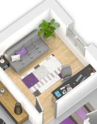 Maison moderne - vue 3D chambre amis