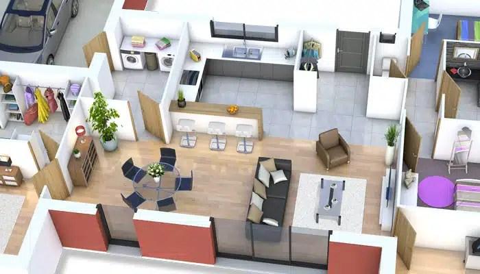 plan maison 3D - maison moderne Mahé