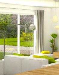 vue 3D salon - maison individuelle Glières