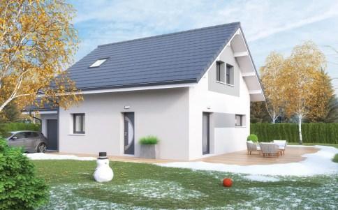 plan maison traditionnelle VERCORS - enduit gris