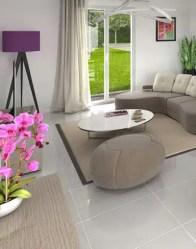 Maison plain pied : vue 3D salon/séjour