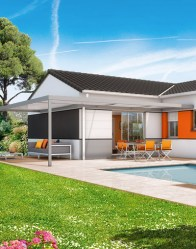 Maison en L de plain-pied - pergola moderne