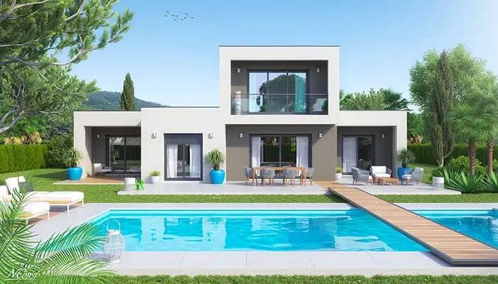 Maison contemporaine à toit plat Audace - Vue jardin enduit gris