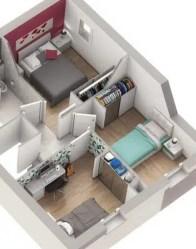 Plan maison double logement - coin nuit
