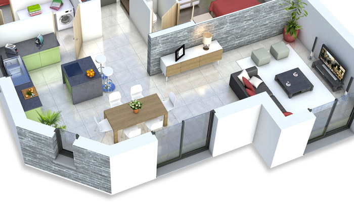 Plan maison 3D - maison moderne Mont-Revard