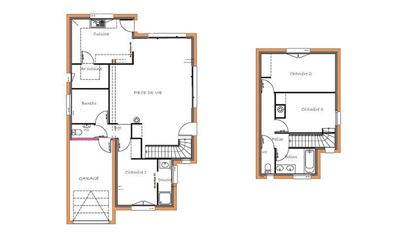 Maison L Plan With Plan Maison Etage 4 Chambres 1 Bureau