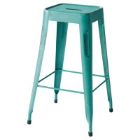 Metal industrial bar stool in turquoise Jim | Maisons du Monde