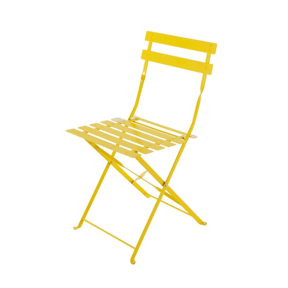 2 sillas plegables de jardn de metal amarillas Confetti  Maisons du Monde