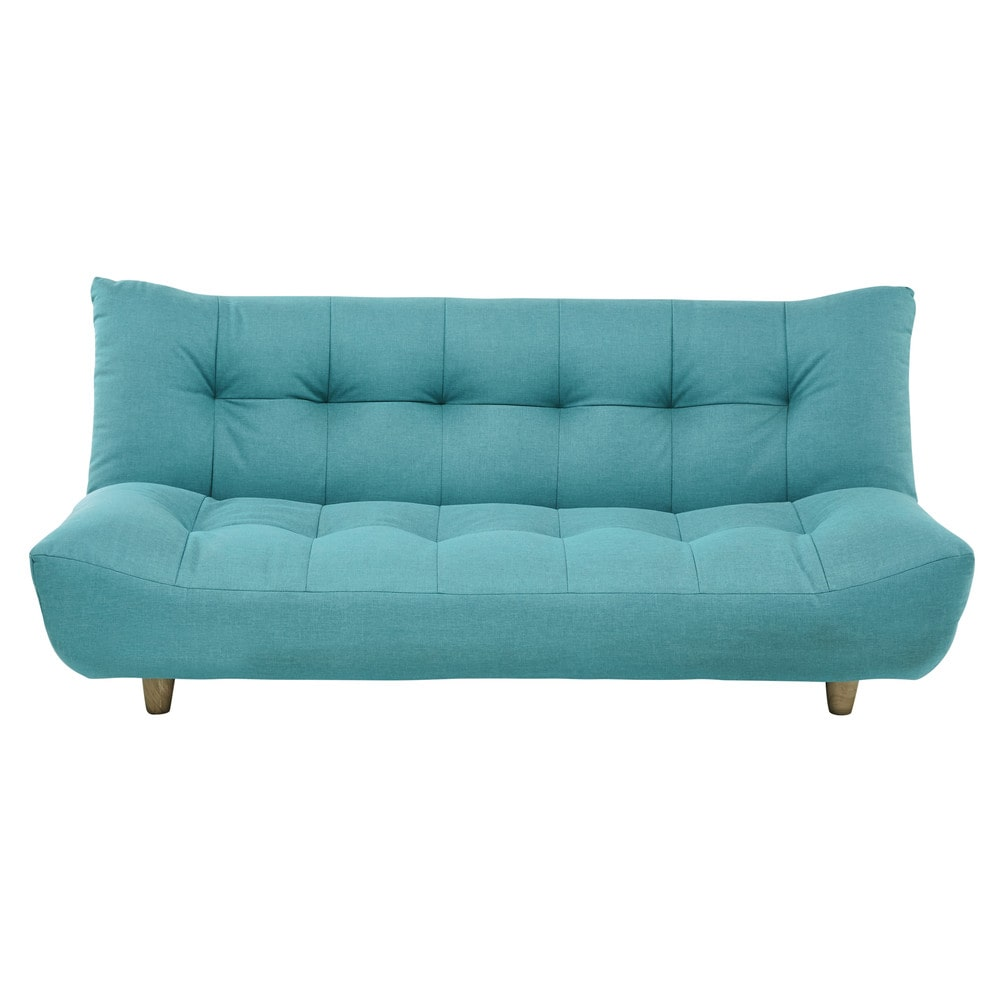 clic clac sofa bed with storage sleepers full size 3 seater in turquoise blue cloud ...