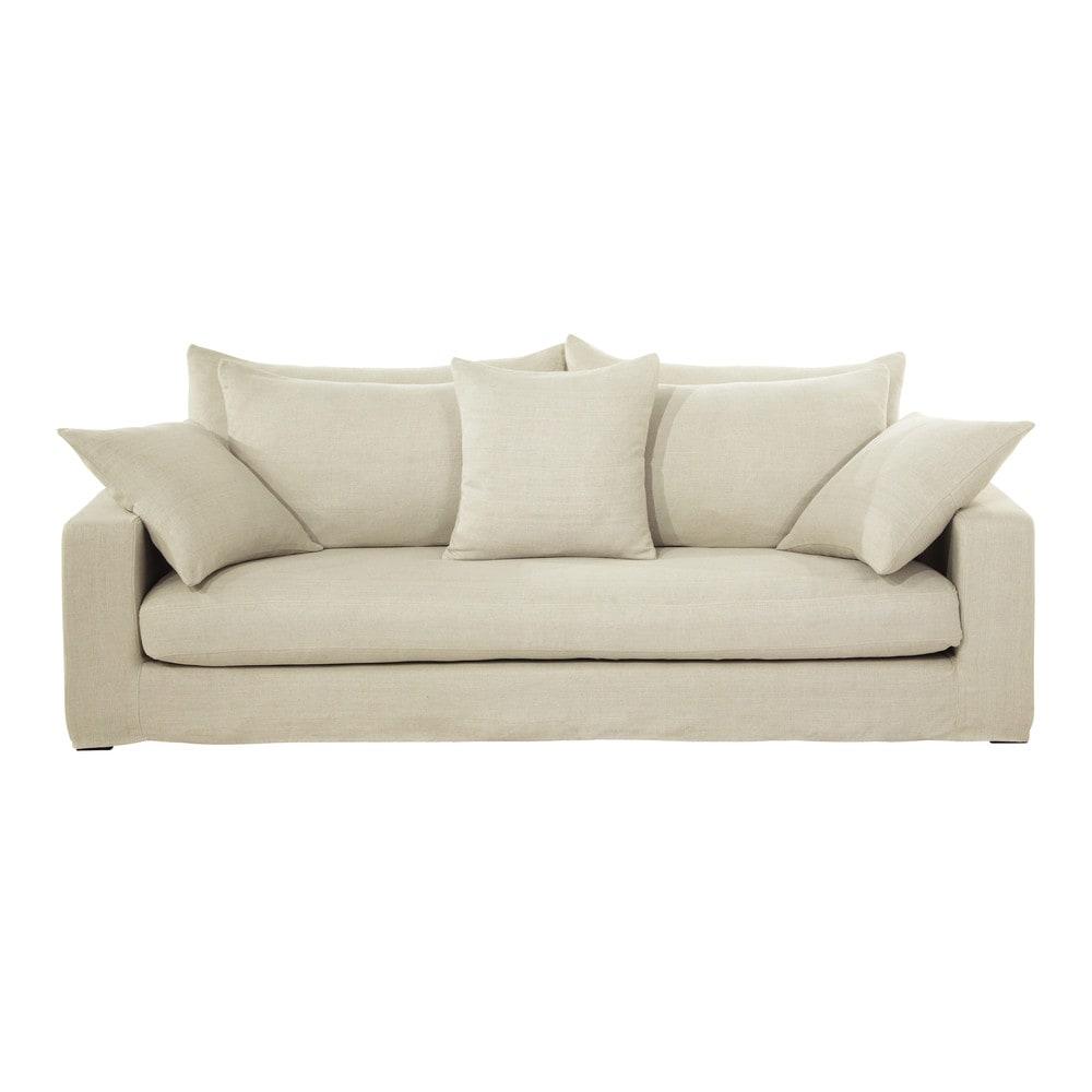 2 seat sofa bed uk espresso leather set 3 seater washed linen in ecru gaspard | maisons du monde