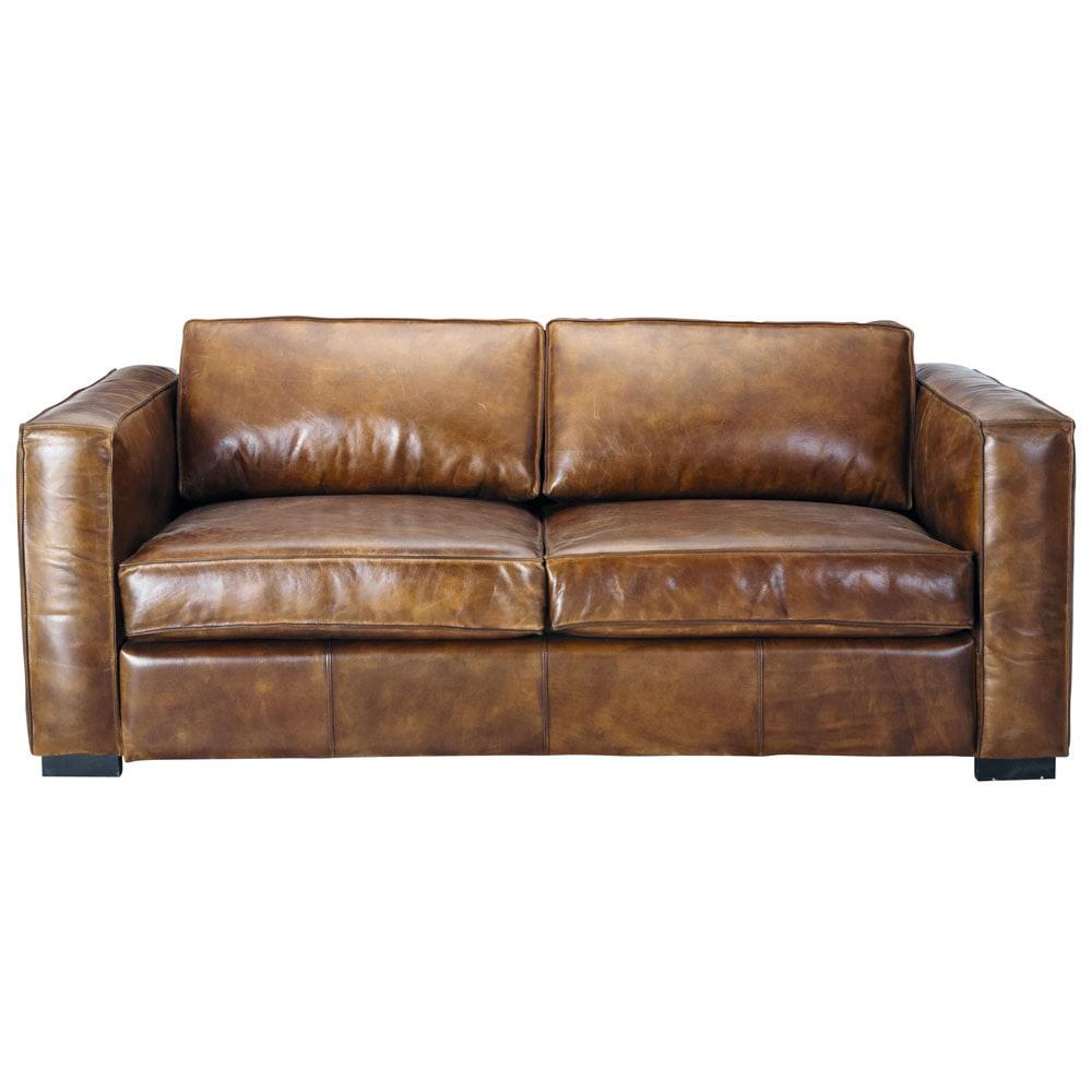 Ausziehbares 3Sitzer Sofa aus Leder braun antik Berlin Berlin  Maisons du Monde