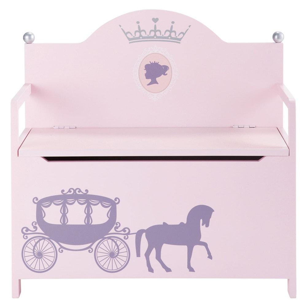 Banc Coffre Enfant En Bois Rose L 77 Cm Princesse