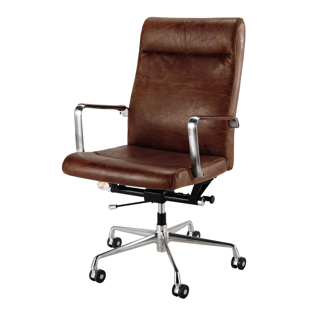 Brown leather and metal office chair on wheels Teacher