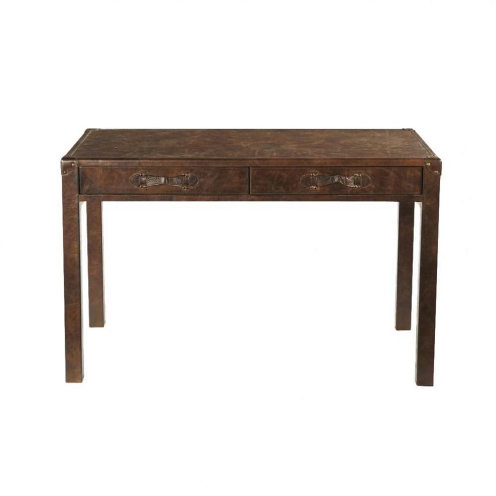 Brown Leather Desk Jules Verne  Maisons du Monde
