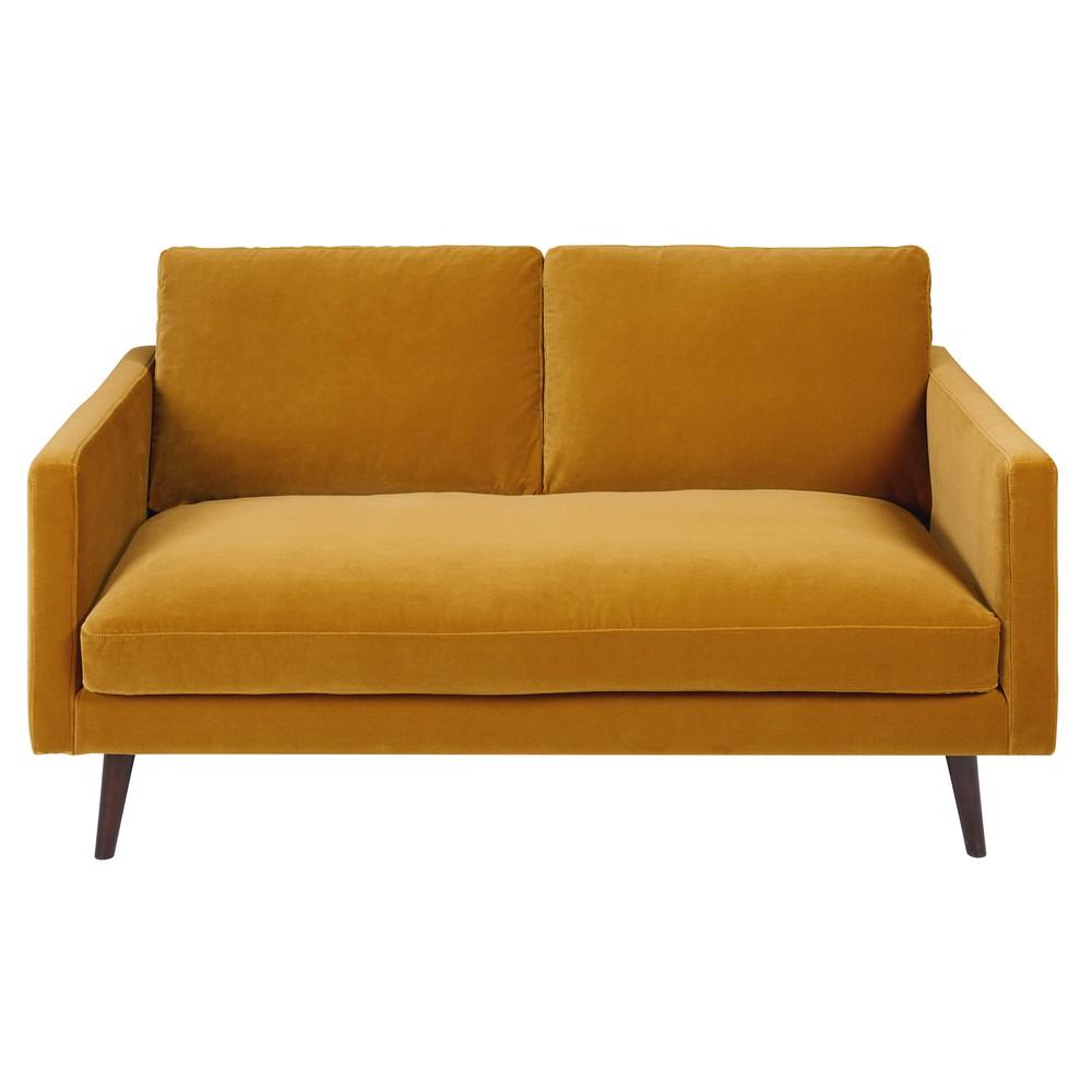 Canap 2 places en velours jaune moutarde Kant  Maisons du Monde