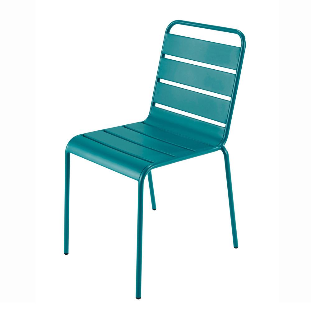 Chaise de jardin en mtal bleu canard Batignolles  Maisons du Monde