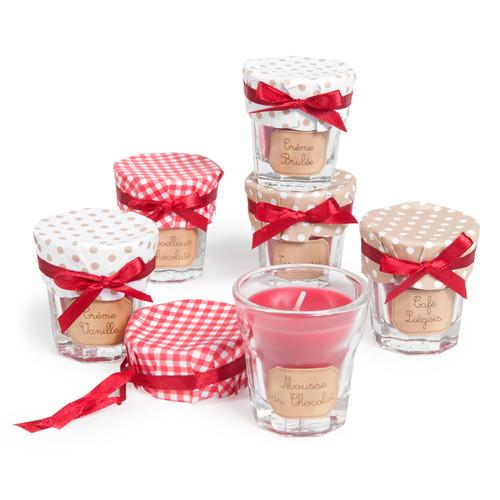Coffret 6 bougies parfumées rouges H 6 cm VITRINE CHOCOLAT
