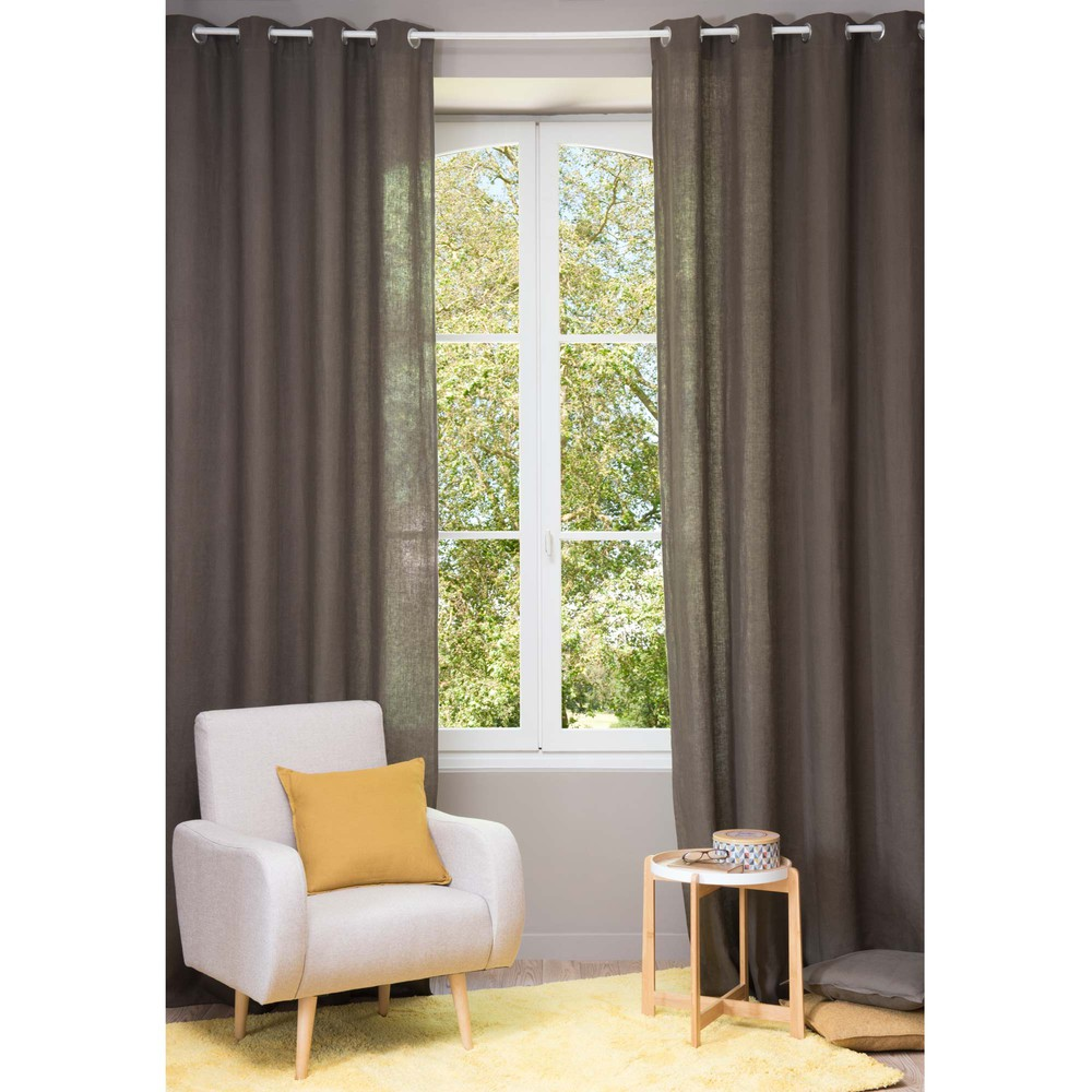 Cortina con ojales de lino lavado marrn 130  300 cm  Maisons du Monde
