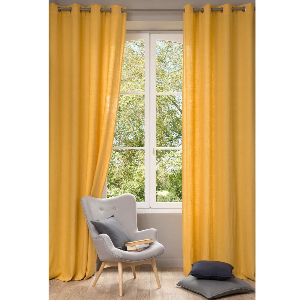 Cortina de lino lavado amarillo 130 x 300 cm  Maisons du