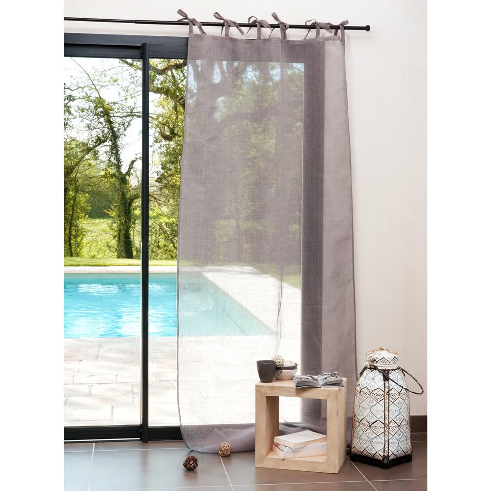 Cortina de nudos de lino gris 105 x 300 cm  Maisons du Monde