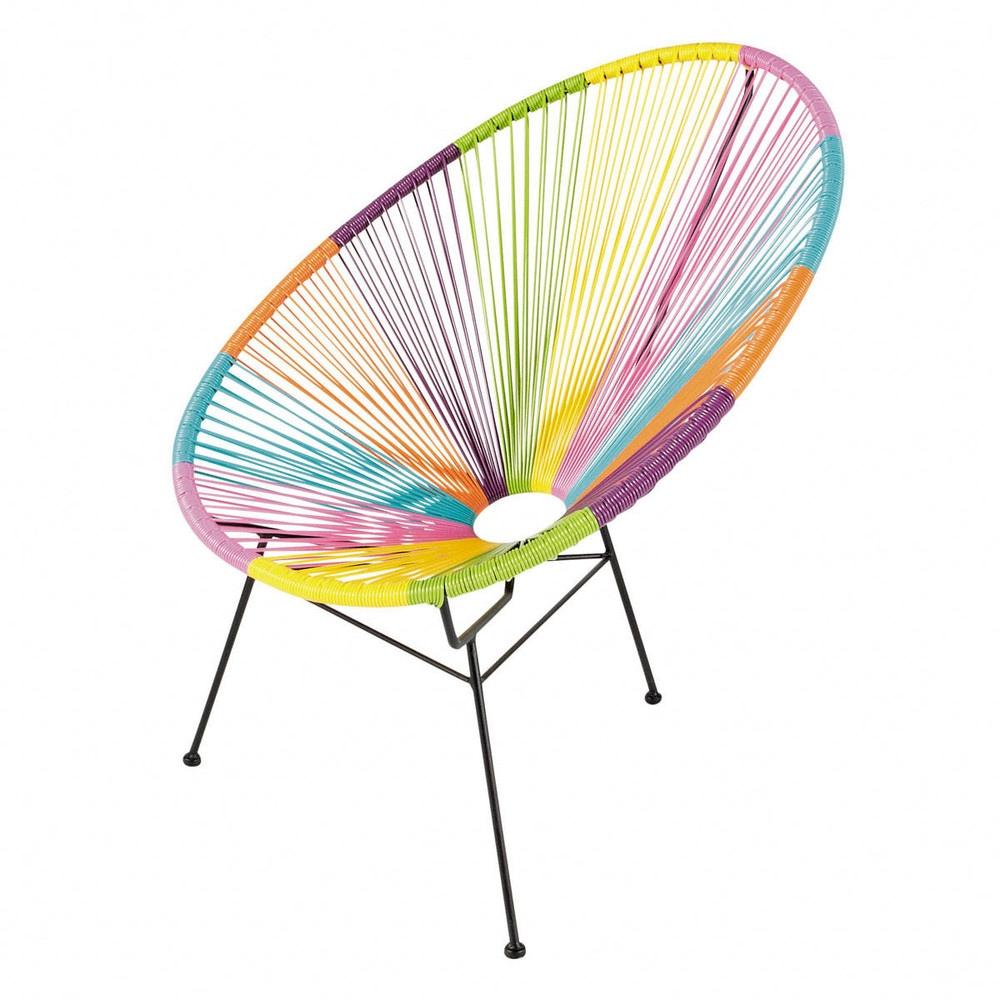 amazing fauteuil de jardin rond multicolore with chaise