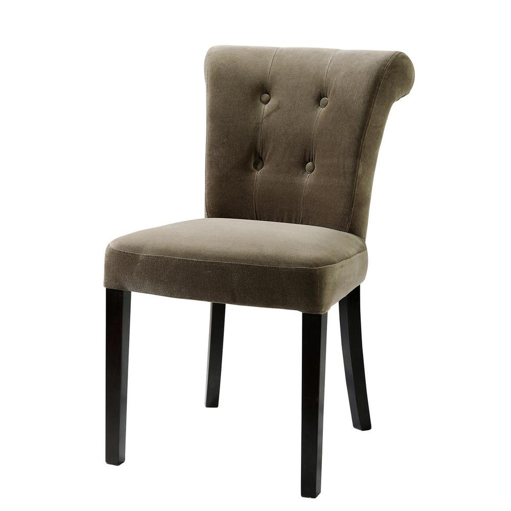 Gepolsterter Stuhl aus Samt und Holz taupe Boudoir Boudoir  Maisons du Monde