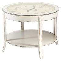 Glass and wood round clock coffee table in white with ...