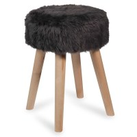 GRETEN wooden stool with faux fur | Maisons du Monde
