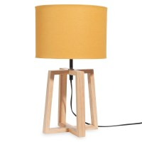 HEDMARK wooden lamp with yellow shade H 44 cm | Maisons du ...