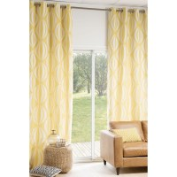 HYPNOSIS eyelet curtain in yellow / white 140 x 300cm ...