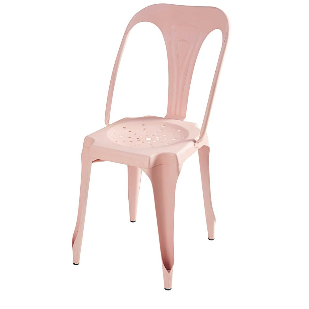 Industrial pastel pink metal chair Multipls  Maisons du