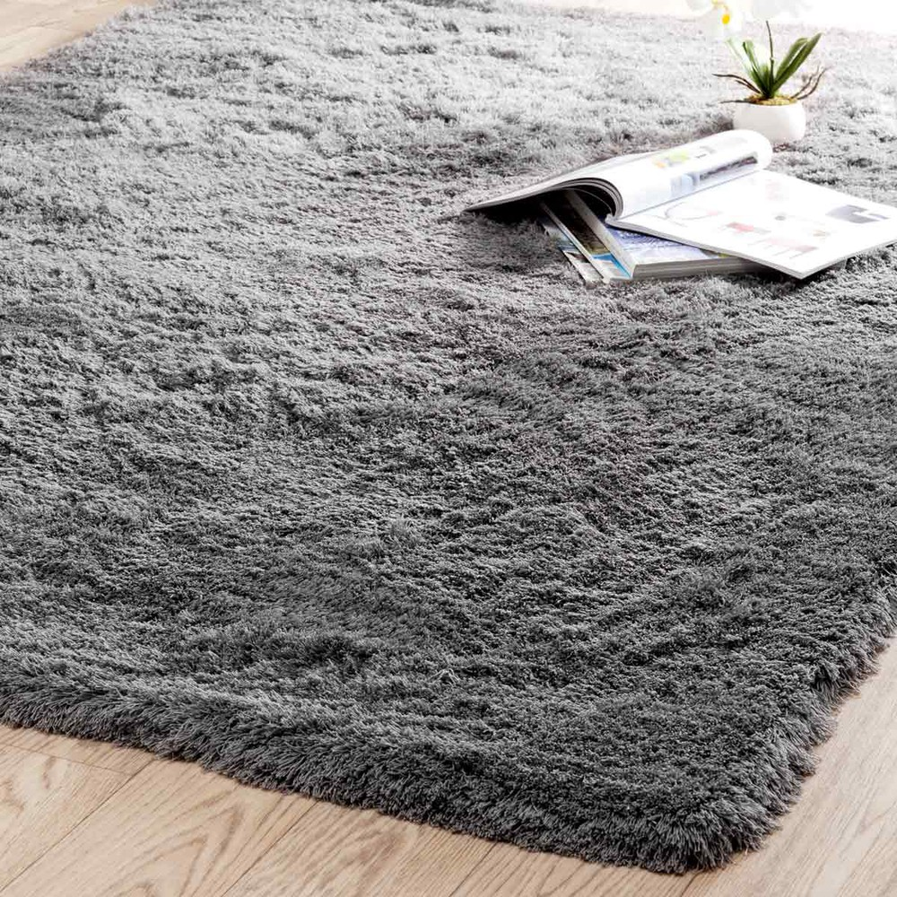 INUIT fabric long pile rug in grey 160 x 230cm  Maisons du Monde