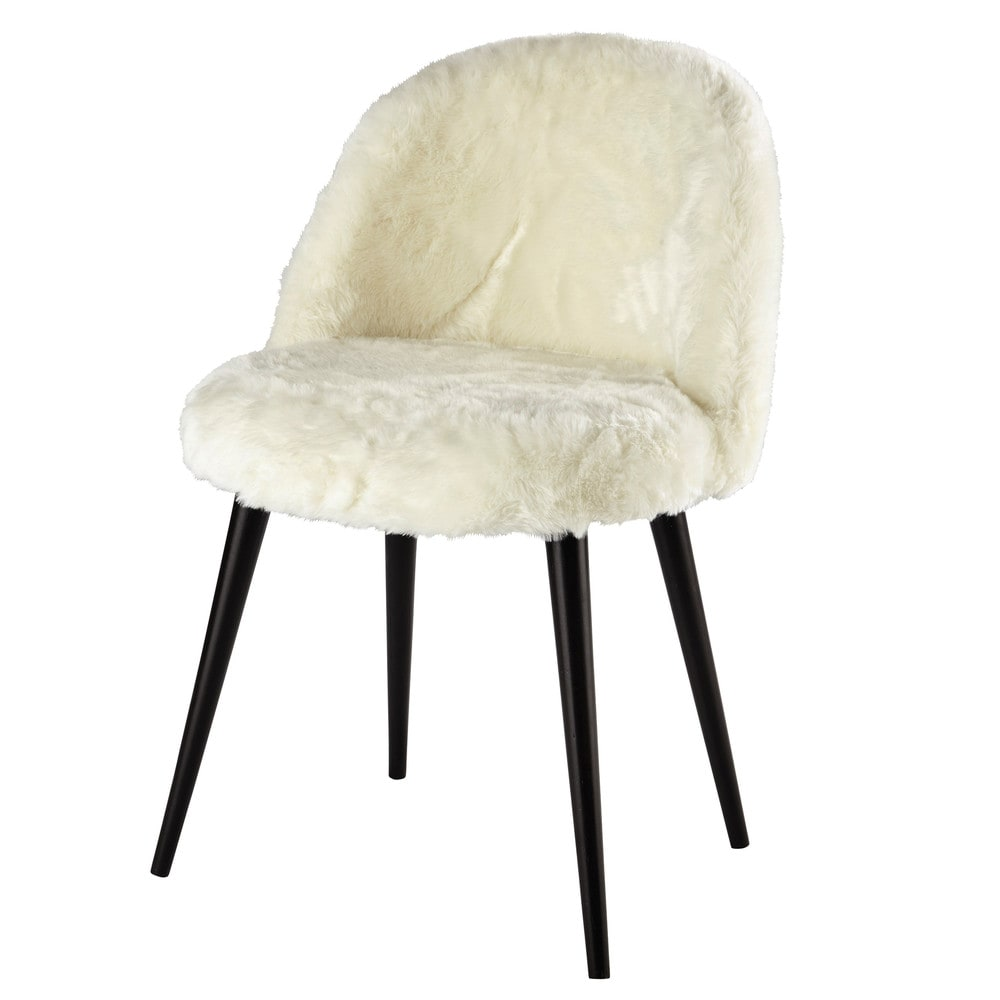 Ivory faux fur and solid birch vintage chair in black