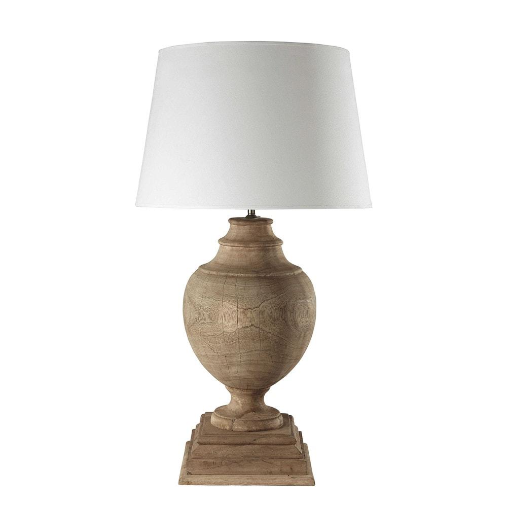 Lampe En Manguier Et Abat Jour En Coton Blanc H 90 Cm