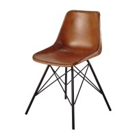 Leather and metal chair in camel colour Austerlitz ...