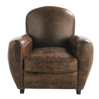 Leather club armchair in brown Oxford | Maisons du Monde