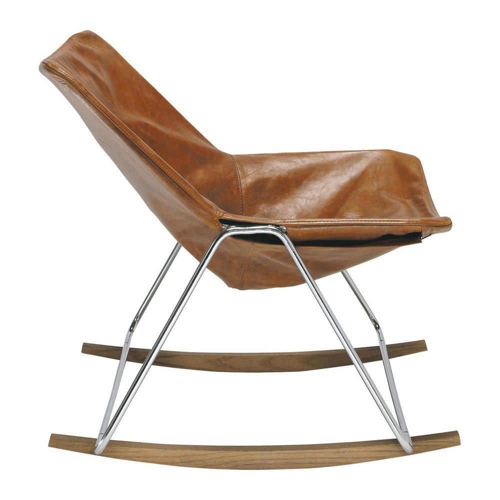 Leather rocking chair in brandy colour G1  Maisons du Monde
