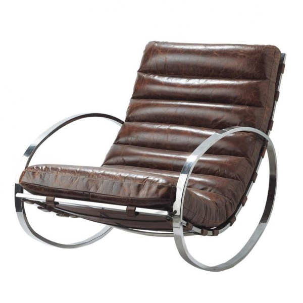 Brown Leather Rocking Chair