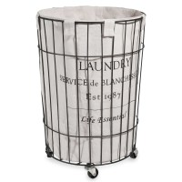Metal laundry basket on wheels H 56 cm