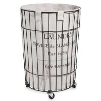 Metal laundry basket on wheels H 56 cm