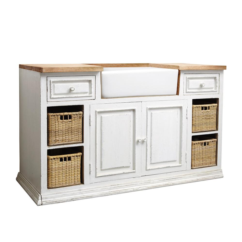 Meuble bas de cuisine avec vier en manguier blanc L 140 cm Eleonore  Maisons du Monde