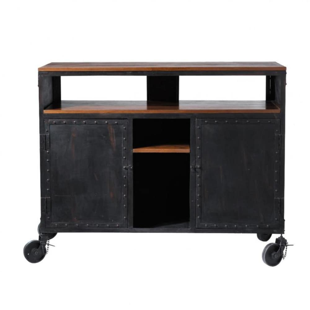Mobile bar nero a rotelle in metallo L 127 cm Industry  Maisons du Monde