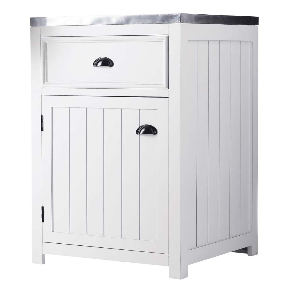 Mobile basso bianco da cucina in legno con apertura a