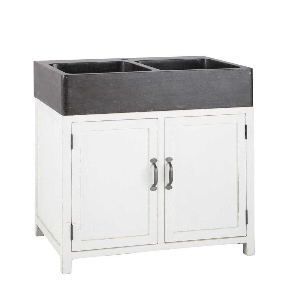 Mobile basso bianco da cucina in legno riciclato con