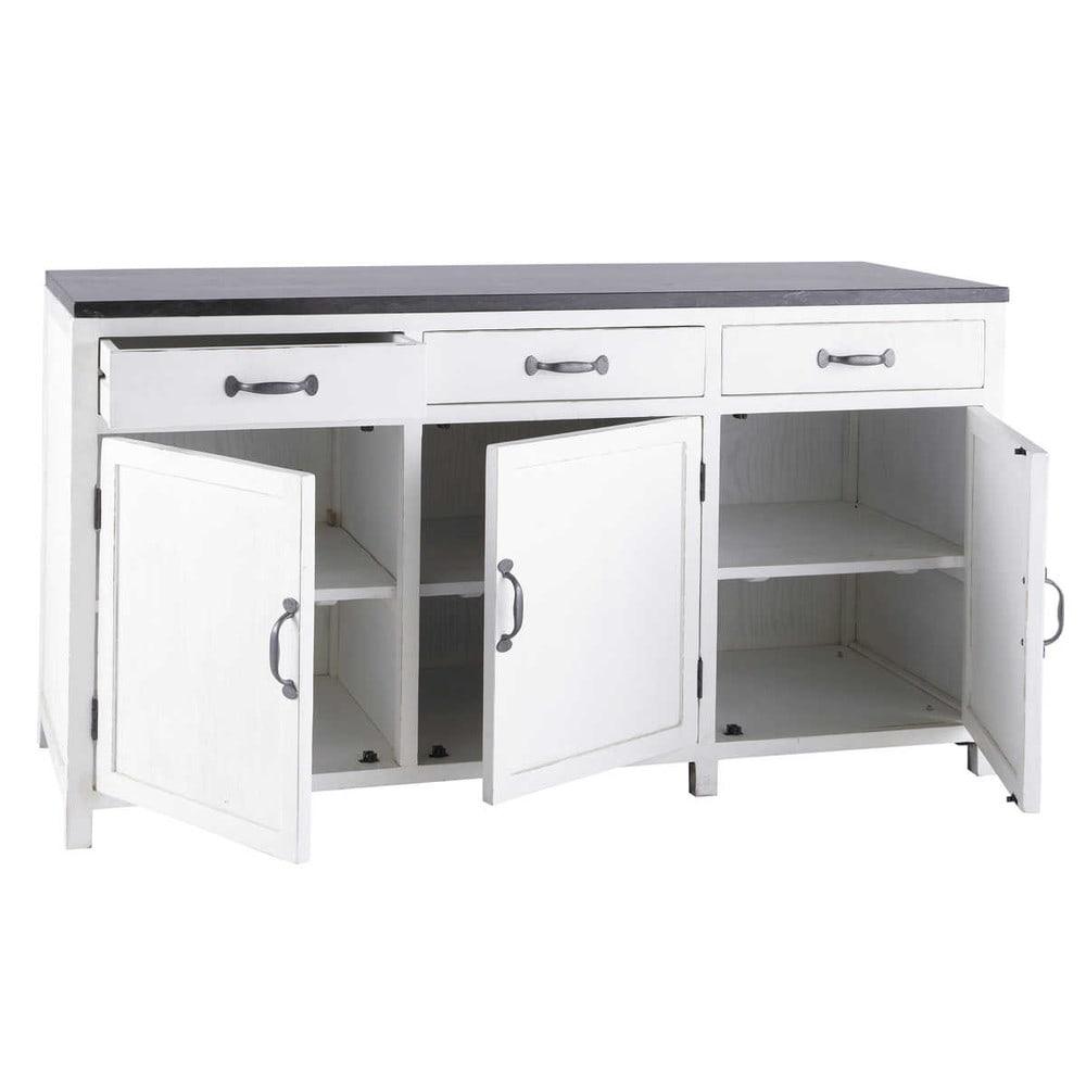 Mobile basso bianco da cucina in legno riciclato L 160 cm Ostende  Maisons du Monde