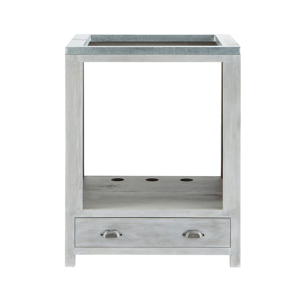 Mobile basso da cucina grigio in acacia per forno L 70 cm Zinc  Maisons du Monde