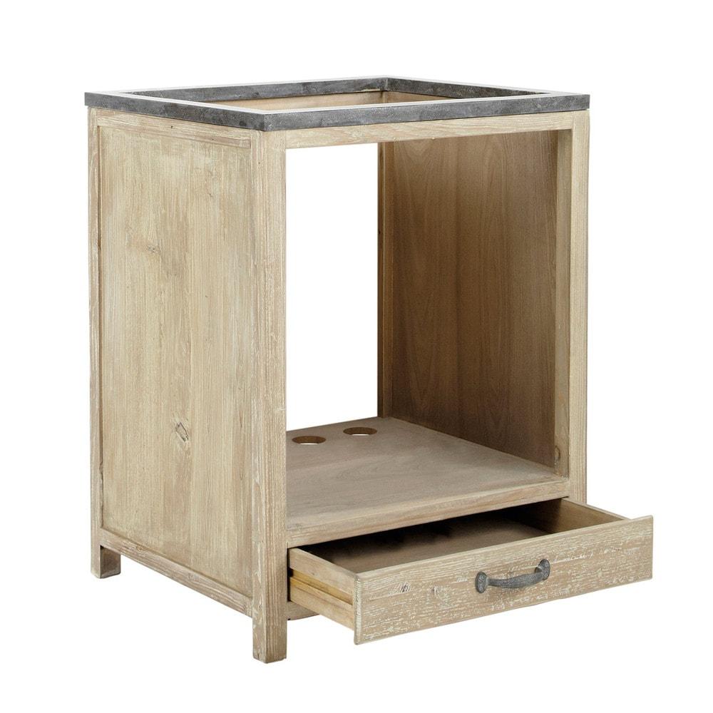 Mobile basso da cucina in pino riciclato per forno L 64