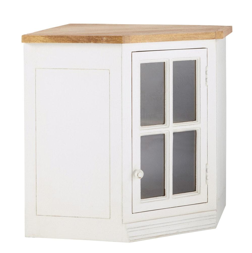 Mueble alto de cocina esquinero acristalado de madera de mango color marfil An 92 cm Eleonore  Maisons du Monde