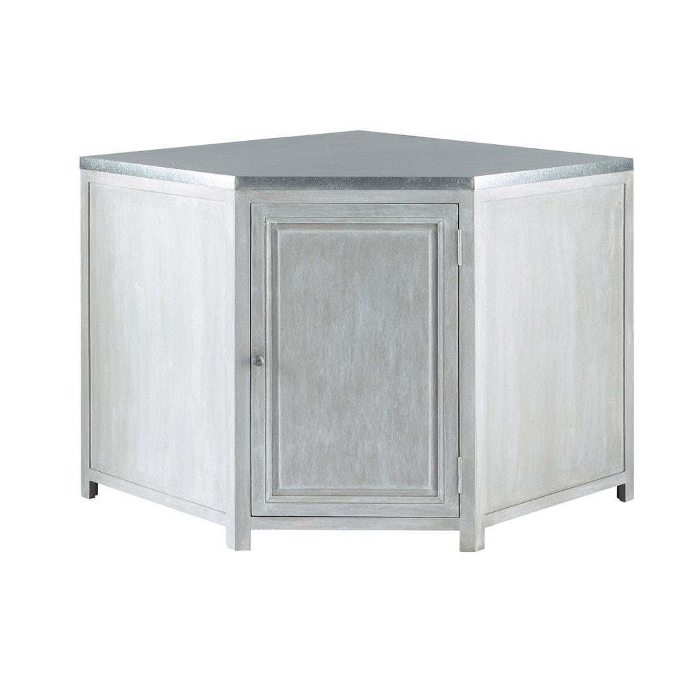 Mueble bajo de cocina esquinero de hevea gris L 99 cm Zinc  Maisons du Monde